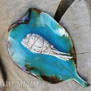 ręcznie wykonane ceramika ceramiczny talerz, liść (c282)