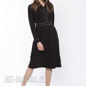 sukienka elegancka z kołnierzykiem, suk167 czarny, sukienka, midi, dress, czarna
