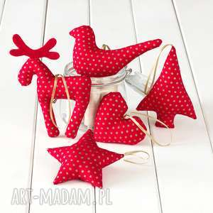hand-made pomysł na upominki na święta ozdoby choinkowe czerwone w złote gwiazdeczki