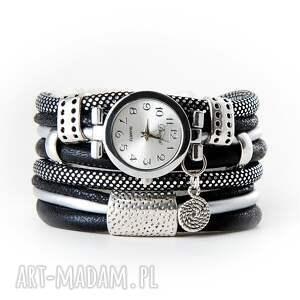 zegarki zegarek - bransoletka, owijany, czarno - srebrzysty, zegarek bransoletka