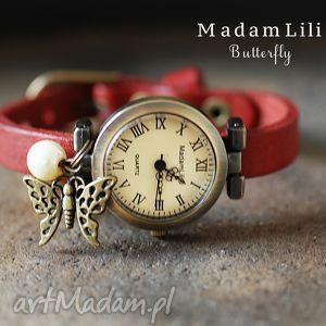Skórzany zegarek MOTYL, motyl, skóra, zegarek, natura, piekny, czerwień