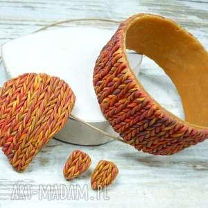 jesienny komplet biżuterii w odcieniach pomarańczy