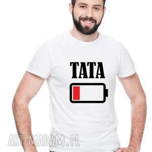 Koszulka dla Twojej rodziny męska Tata Bateria , dla-taty, dla-niego,
