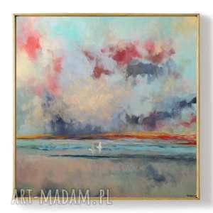 morze-obraz akrylowy formatu 100/100 cm, morze, obraz, akryl, abstrakcja, łodzie
