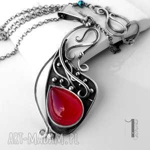 Prezent Strawberry srebrny naszyjnik z agatem brazylijskim , naszyjnik, agat