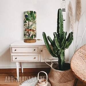 lampa stołowa dekoracyjna lamparty, stołowa, drewniana