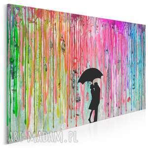 obraz na płótnie - deszcz barwy para 120x80 cm 46402, deszcz, kolory, para, miłość