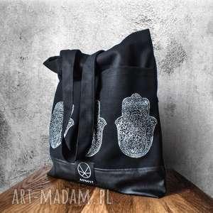 Torebka HAMSA, orientalny, drukowany, rękodzieło, ekologiczna, hamsa, czarna