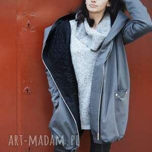 szary płaszcz oversize ogromny kaptur na jesień rozmiar xs, kurtka wiosenna