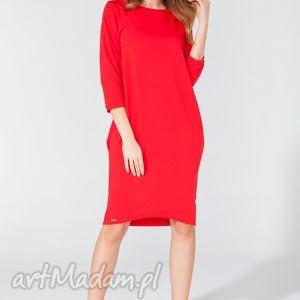 ręcznie wykonane sukienki sukienka midi z kieszeniami na biodrach t105 kolor czerwony - tessita
