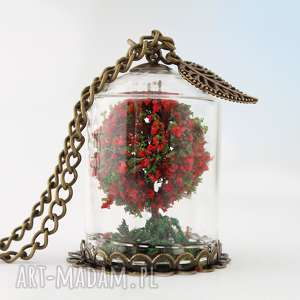 naszyjnik czerwone drzewo - wisior, drzewo, drzewko, romantyczny, vintage, boho