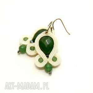 kolczyki sutasz z jadeitami, soutache, sznurek, zielony, kremowy, eleganckie, jadeit