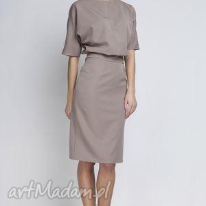 Sukienka, SUK123 beż, ołówkowa, wyszczaplująca, sukienka, elegancka, matura