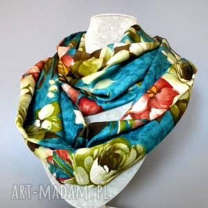 handmade szaliki szalik na wiosnę w kwiatowy wzór