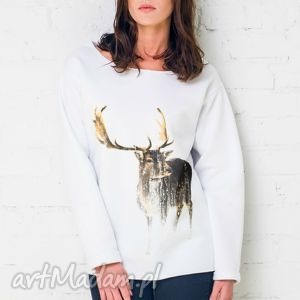 great as you deer oversize bluza, oversize, biały, casual, bawełna, moda