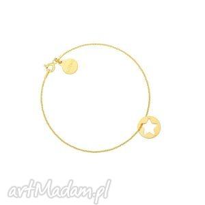 złota bransoletka z gwiazdką w kółeczku, delikatna