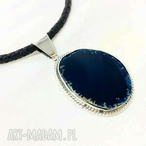 klasyczny wisior z niebieskim agatem srebro 925 plaster, wisiorek, srebro925
