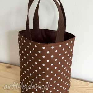 lunch bag by wkml brązowa - duże białe kropki, kanapki, śniadanie, lunch, torba