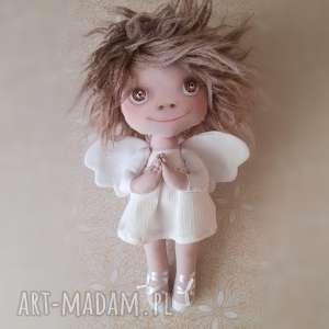 figurka tekstylna aniołek - anioł, szyty, malowany, salon, kominek, sypialnia