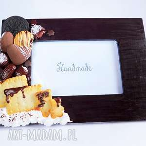 czekoladowa ramka na zdjęcia, fimo, modelina, czekolada, ciastko, słodycze