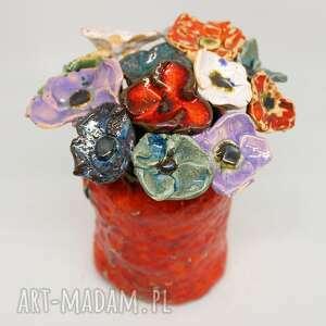 ceramiczne kwiaty mniejsze ogrodowe domu handmade, wazonie