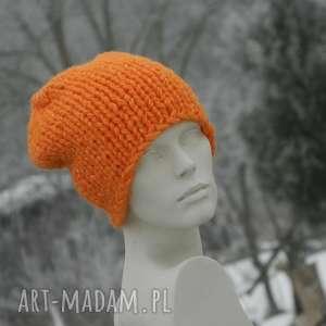 pomarańczowy grubas czapa z alpacą, grubaśna czapka, ciepła czapka na zimę