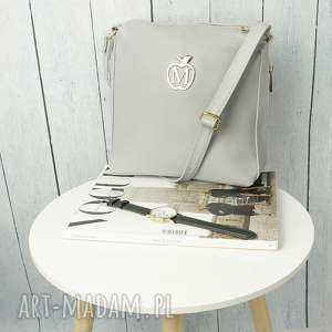 torebka listonoszka manzana zameczki siwa, torebka, torba, listonoszka, damska