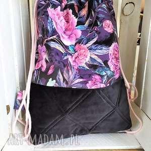 worek plecak welurowy w piwonie, worek, plecak, spacery, zakupy, wycieczki