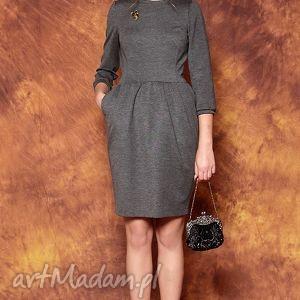Szara sukienka z bufkami, sukienka, bufki, szara, tulipan, kobieca, uniwersalna