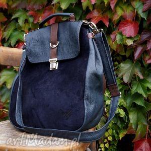 LILITH plecak/torba granatowa skóra, torba, plecak, granat, ciemny, zamsz