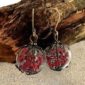 hand made kolczyki romantyczna czerwień - kolczyki z prawdziwymi kwiatami