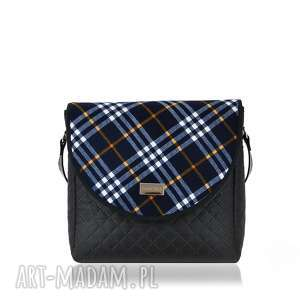 oryginalny prezent, farbotka torebka puro 1266 blue grid, praktyczna, klapki, wygoda
