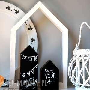 3 drewniane domki tablicowe, domki, drewniane, drewna, domek, dekoracja