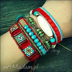 andalisia red - komplet bransoletek, howlit, koral, szkło, rzemień, sznurek