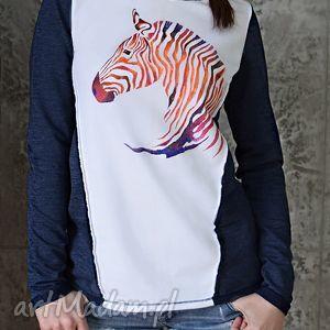 Prezent 100% BAWEŁNIANA BLUZA ZEBRA, RĘCZNIE MALOWANA, bluza, zebra, granat, biały