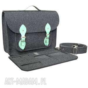 ręczne wykonanie torba na laptopa z filcu 13 ramię, do pracy, aktówka