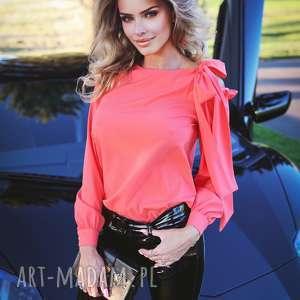 bluzki elegancka bluzka damska koralowa z wiązaniem, elegancka, falbanki