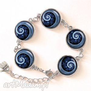 egginegg niebieska spirala - bransoletka - graficzna, spiralna, kaboszon