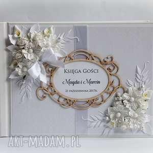 Księga gości z kwiatami księgi biala konwalia księga, ślub