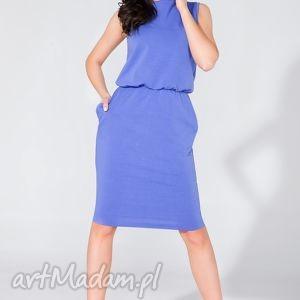 sukienka midi z kieszeniami t132 borówka - sukienka, midi, letnia, kieszenie
