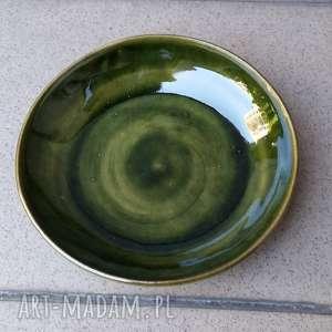 Talerzyk zielony większy, ceramika, talerzyk, talerz, glina, rękodzieło