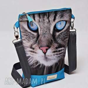 torebka listonoszka wodoodporna, torba na ramię z kotkiem, mała kot