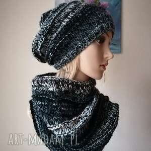 ręcznie robione czapki black or white komplet boho