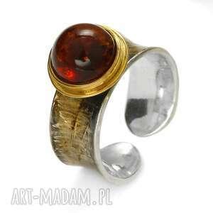 pierścionek bursztynowe klimaty, prezent dla niej, urodziny mamy