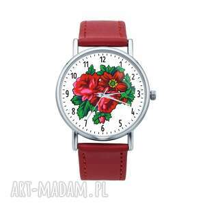 hand made zegarki zegarek z grafiką czerwona róża