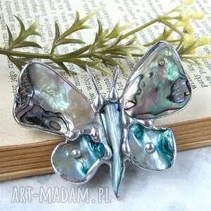 broszka i wisiorek 2 w 1 motyl z tęczową muszlą, perłowa, masa perłowa