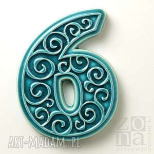 numer domu, cyfra 6 turkusowa, na dom, cyfra, numer, ceramika, ornament