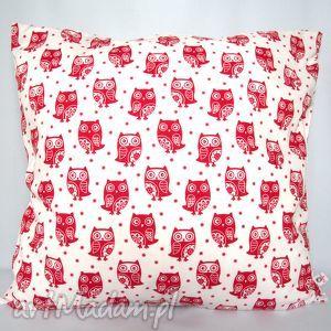 poduszka w sowy piękna ozdoba prezent - poduszka, jasiek, groszki, sowy, ozdoba