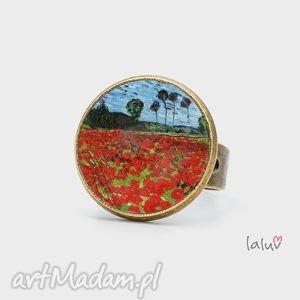 pierścionki pierścionek pole maków, reprodukcja, sztuka, obraz, kwiaty, maki, prezent