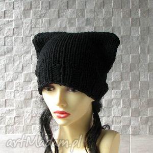 czapka kot - zimowa gruba - czapka, czapkakot, zima, dodatki, moda, fashion